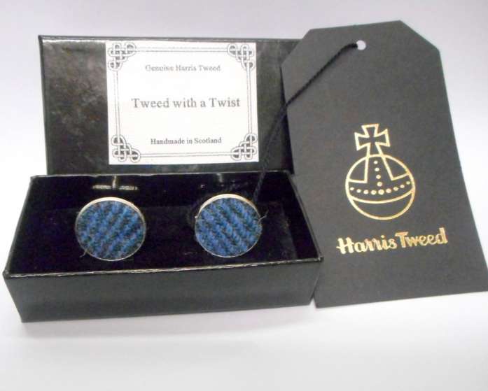 Harris-tweed-cuff-links-blue-and-grey-silver-round