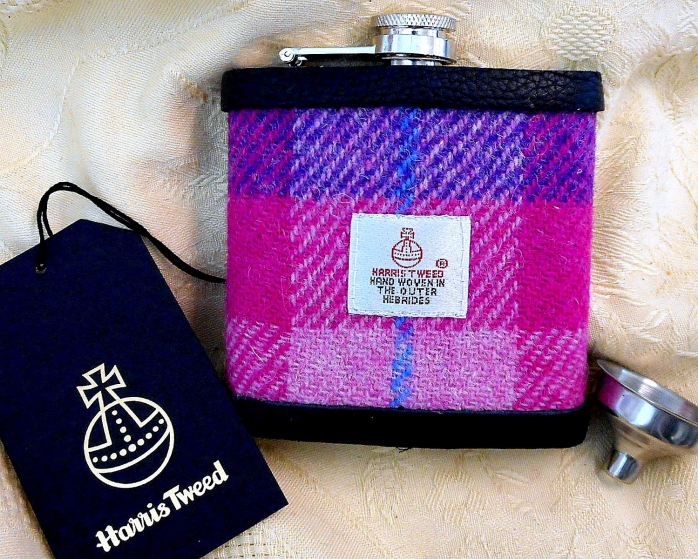 Pink- and-Purple-harris-tweed-hip-flask-gift-for-her