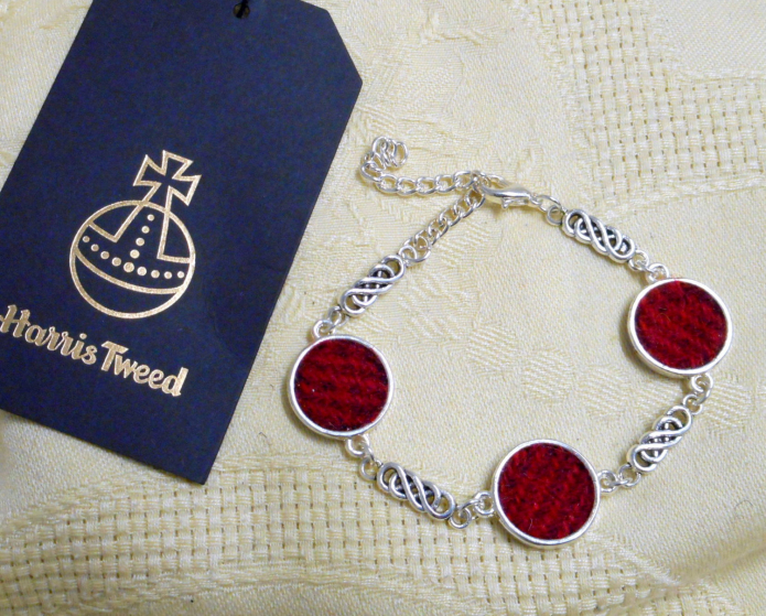 Harris-Tweed-jewellery-bracelet-red-celtic-knot-womens-gift-for-her