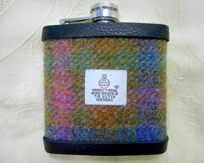 harris-tweed-hip-flask-pink-green-blue-gold