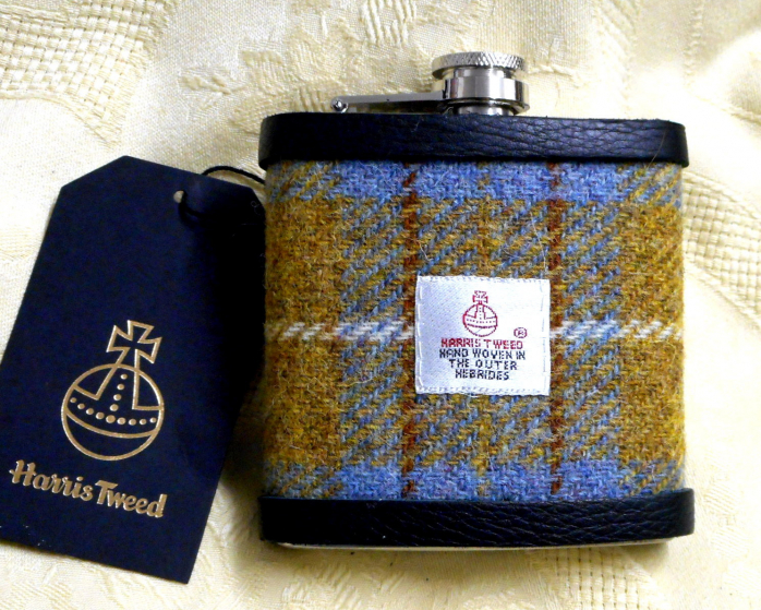 Harris-tweed-hip-flask-mustard-and-blue-boxed-gift-for-men