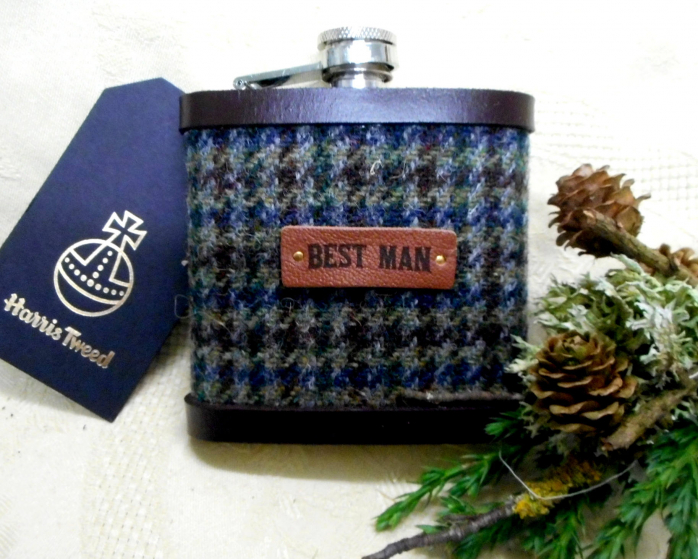 Best-man-gift-for-wedding-harris-tweed-hip-flask-scottish