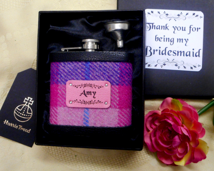 personalized-bridesmaid-gift-Harris-Tweed-hip-flask-in-box-with-name