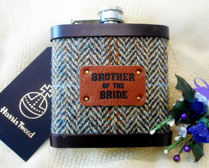 Brother-of-the-bride-gift-harris-tweed-hip-flask-scottish-tweed-with-a-twist
