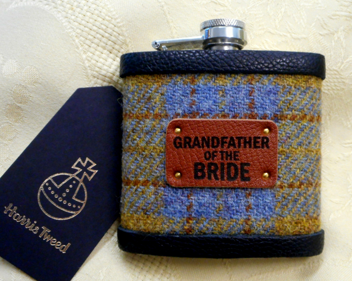 Grandfather-of-the-bride-gift-harris-tweed-hip-flask-tweed-with-a-twist
