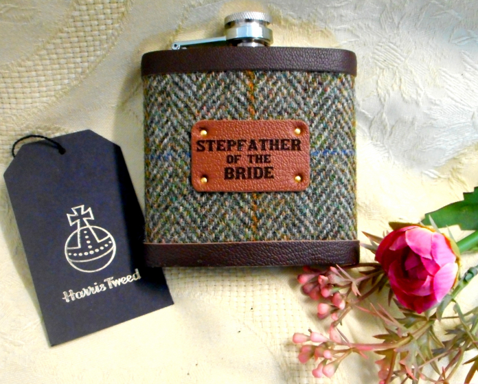 stepfather-of-the-bride-groom-gift-Harris-tweed-hip-flask-personalized