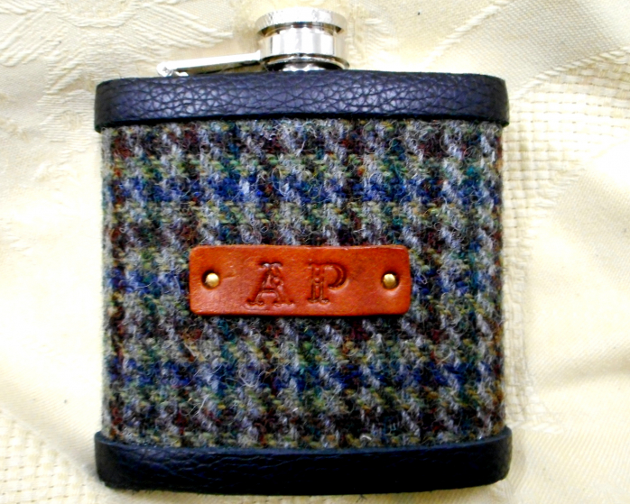 Hip flask-harris tweed-personalised gift- monogrammed- for him