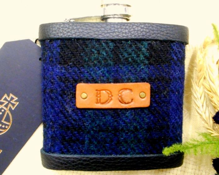 Harris-tweed-hip-flask-monogram-inintials-leather-label