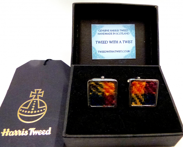 Harris Tweed-cufflinks-Buchanan-tartan-gift box-gift for him-groomsmen-Best man
