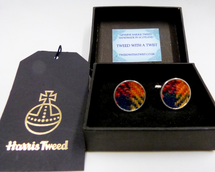 Harris Tweed-cuff links-Buchanan-tartan-gift box-gift for him-groomsmen-Best man