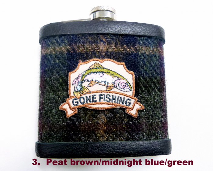 Gone Fishing-harris tweed-hip flask-gift for him