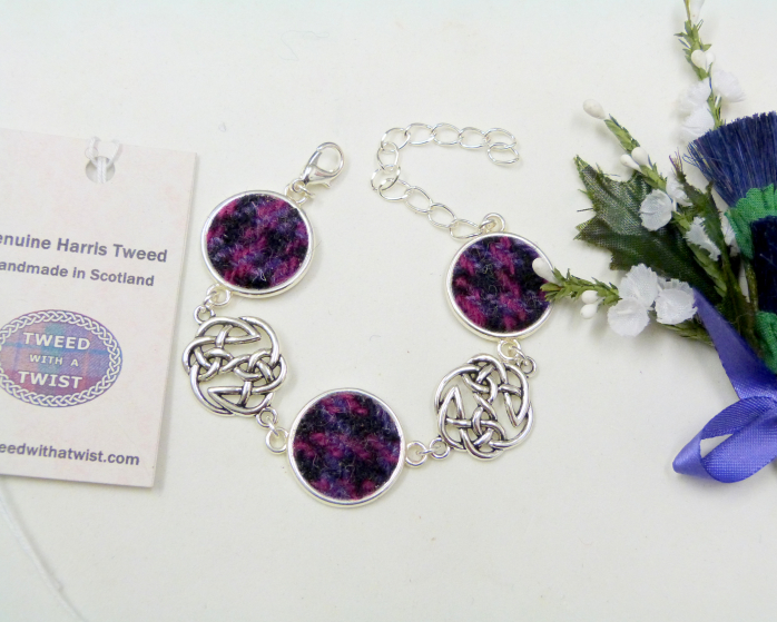 Purple-black-Harris Tweed-bracelet-gift box-celtic jewellery-scottish jewellery
