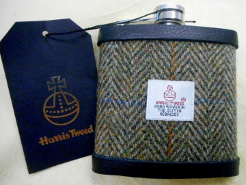 Harris-tweed-hip-flask-olive-green-gift-for-men