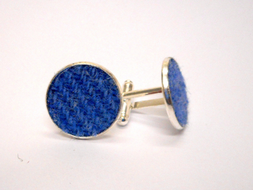 Blue-harris-tweed-cufflinks-round-silver-cuff-links-groomsman-wedding-occasion