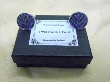 Harris-tweed-cuff-links-purple-round-silver-groomsman-