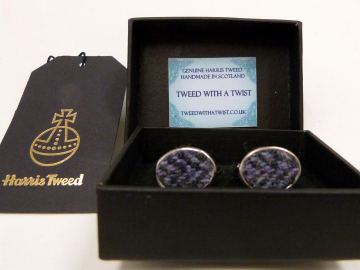 Harris Tweed-cufflinks-purple herringbone-gift for him-groomsmen-Best man