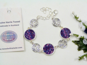 Harris Tweed-bracelet-purple-celtic-filigree-scottish-gift