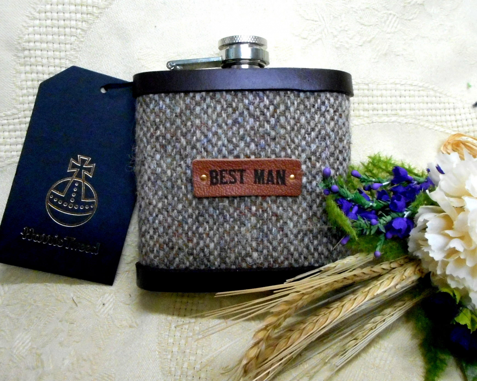 Scottish Wedding Gifts: Best Man Wedding Gift Harris Tweed Hip Flask Rustic Themed