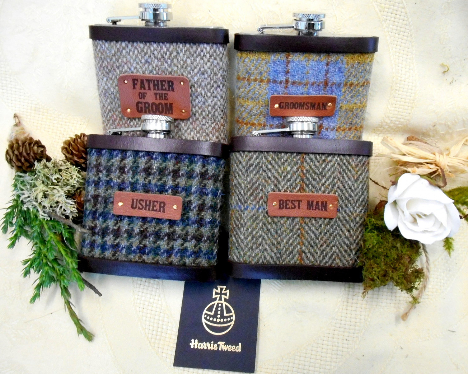 Wedding Gift Ideas For Bestman And Ushers: Set Of Four Rustic Or Barn Wedding Gifts Harris Tweed Hip