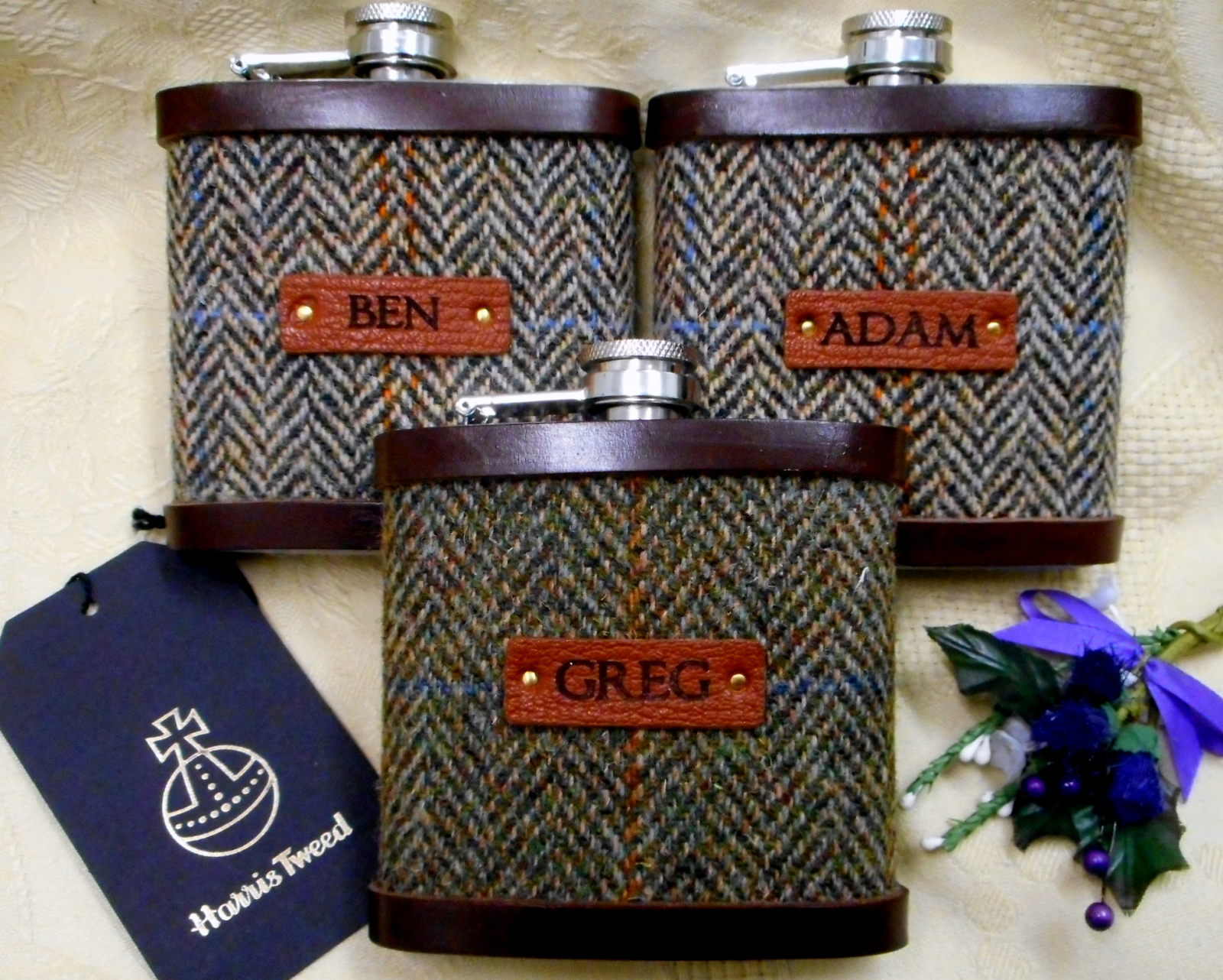 Scottish Wedding Gifts: Personalised Groomsman Gifts Harris Tweed Hip Flasks With