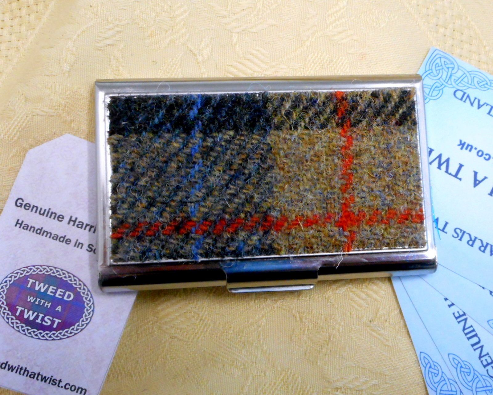 Blue beige and red harris tweed business card case stainless steel business card case harris tweed gift for him reheart Images