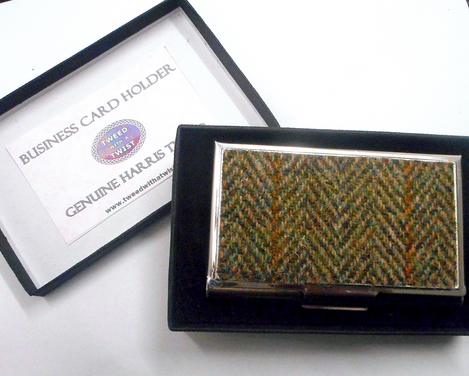 Business or credit card case harris tweed green herringbone harris tweed business card holder credit card case colourmoves
