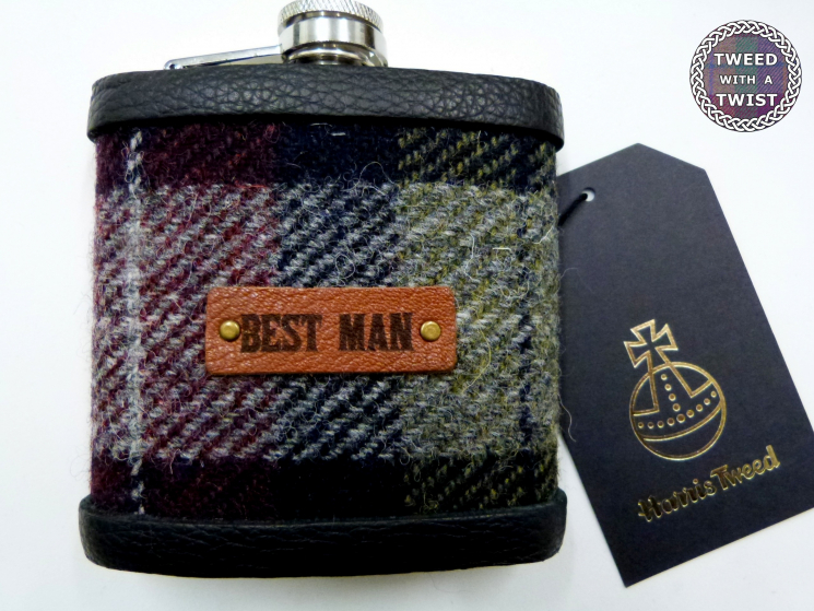 Best Man gift Harris Tweed  hip flask