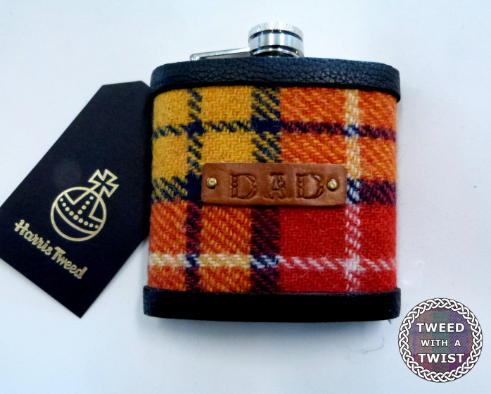 Harris Tweed hip flask in Buchanan Tartan