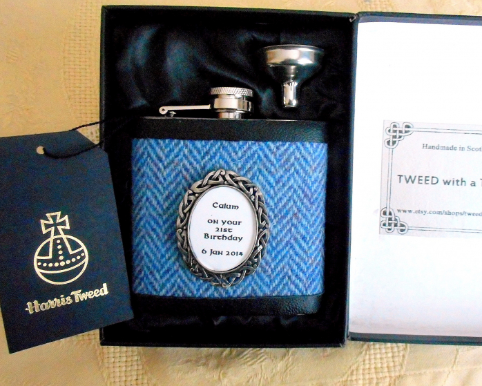Blue Herringbone Harris Tweed flask with inscription in celtic pewter setting