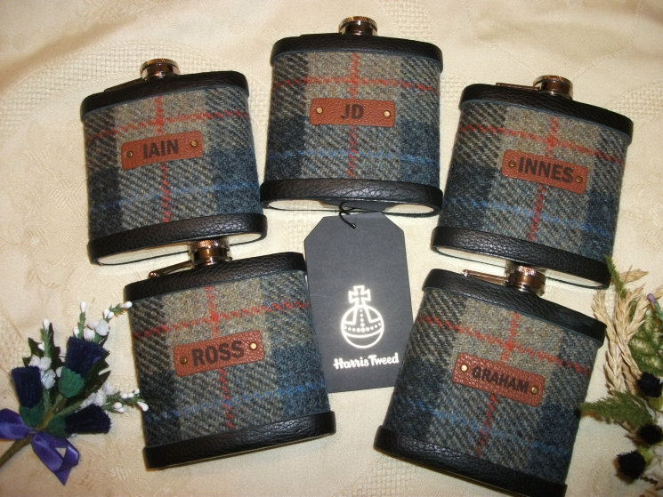 Blue, beige and red Harris Tweed with names