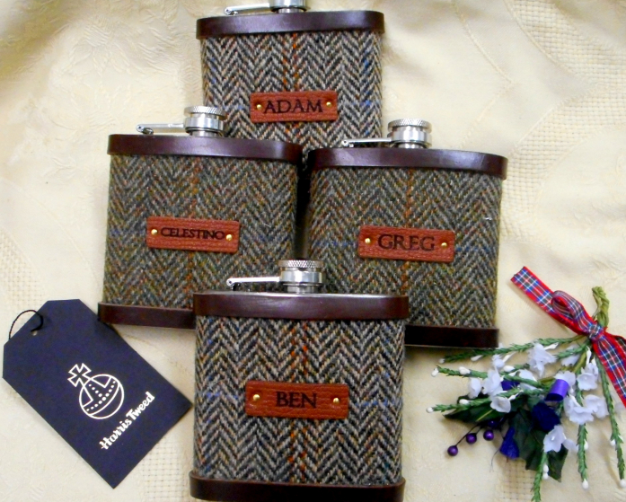 Set of four flasks with names