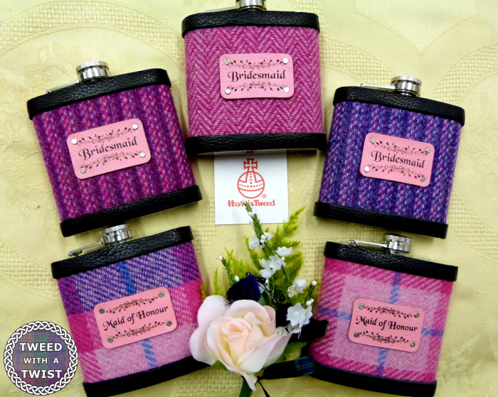 Five Bridesmaids flasks in different Harris Tweeds