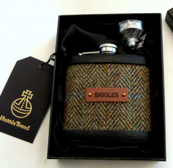 Olive Green Herringbone flask with name
