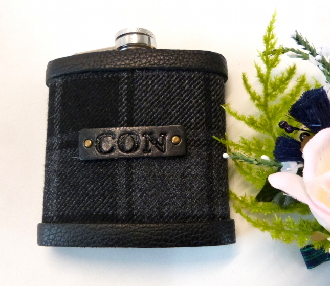 Tartan flask with black leather embossed initials