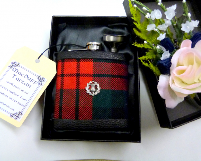MacDuff Tartan hip flask with Scottish thistle