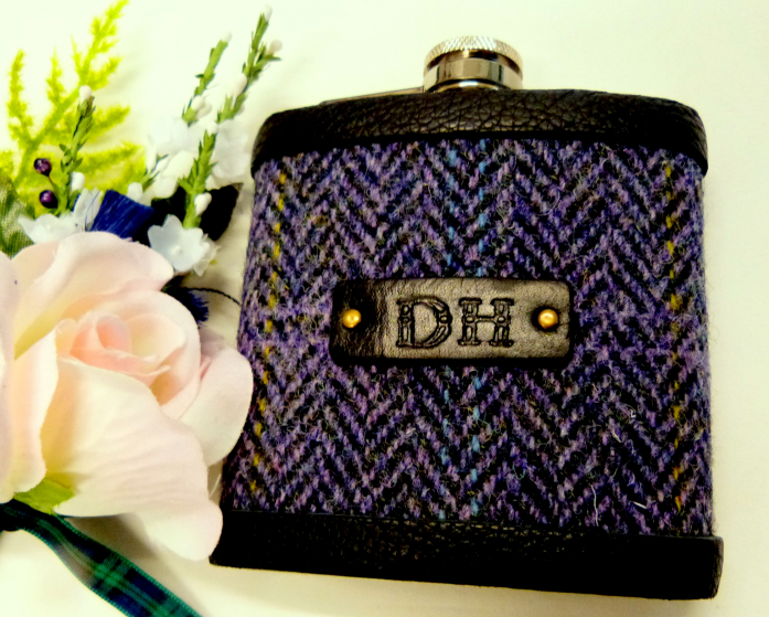 Harris Tweed flask, Purple Heather herringbone weave with hand embossed initials on black leather