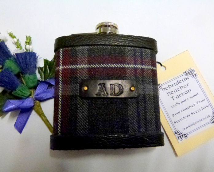 Hebridean Heather tartan flask, with hand embossed initials