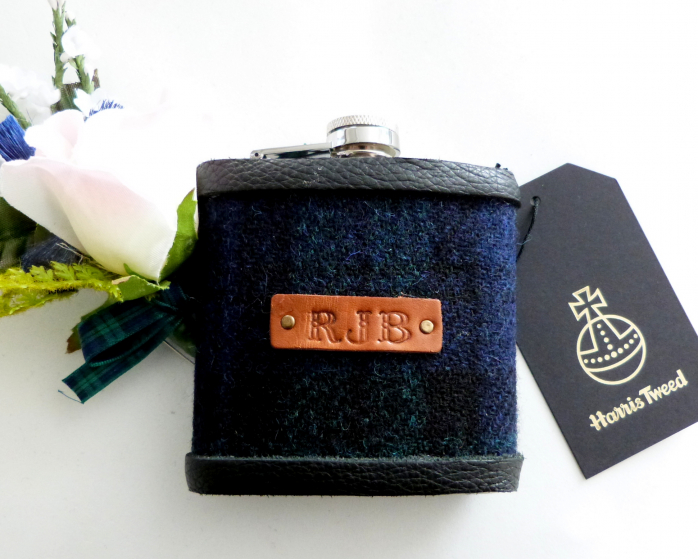 Harris Tweed flask in Black Watch tartan with hand embossed initials