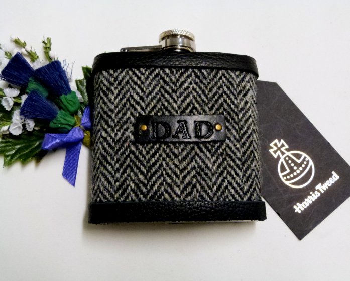 Traditional grey herringbone Harris Tweed flask, with hand embossed leather label for Dad