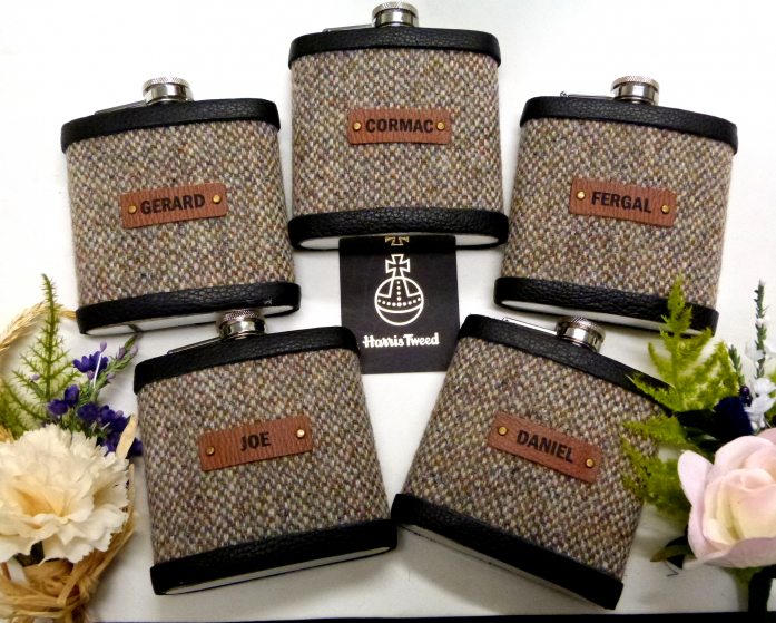 Granary Harris Tweed flask with names on leather labels