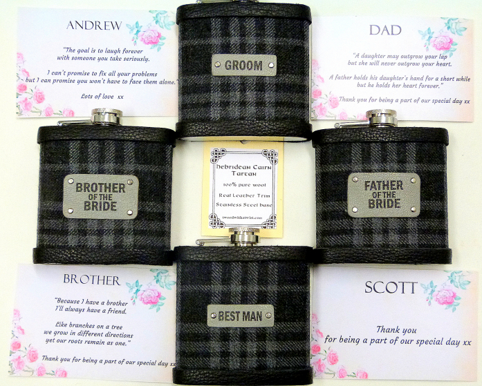 Hebridean Cairn Tartan flasks with custom printed message labels