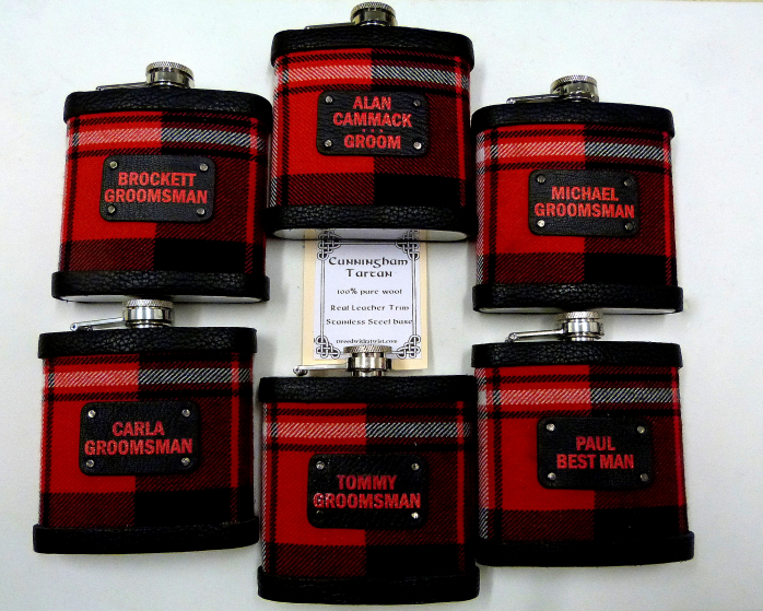 Cunningham  Tartan flasks with special toning labels