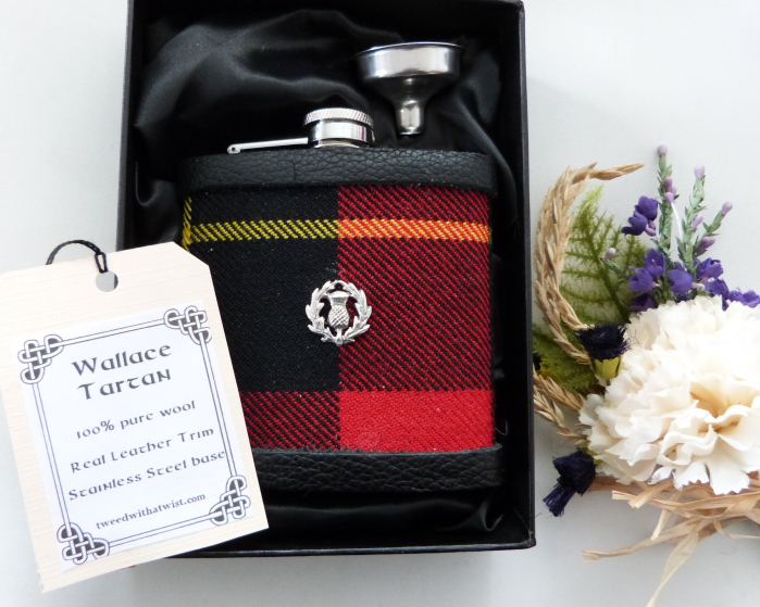 Wallace Tartan hip flask with thistle