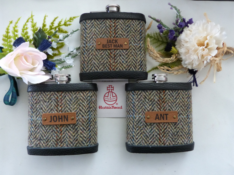 Harria Tweed hip flasks for Best Man and Ushers