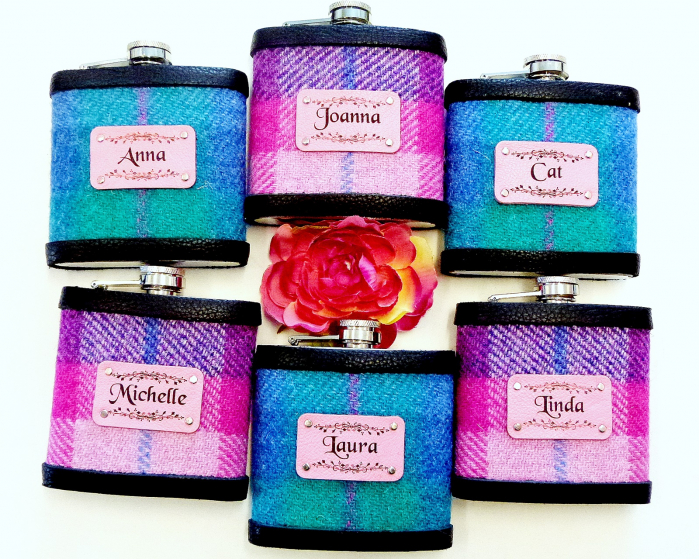 Set of six Bridesmaids flasks with names