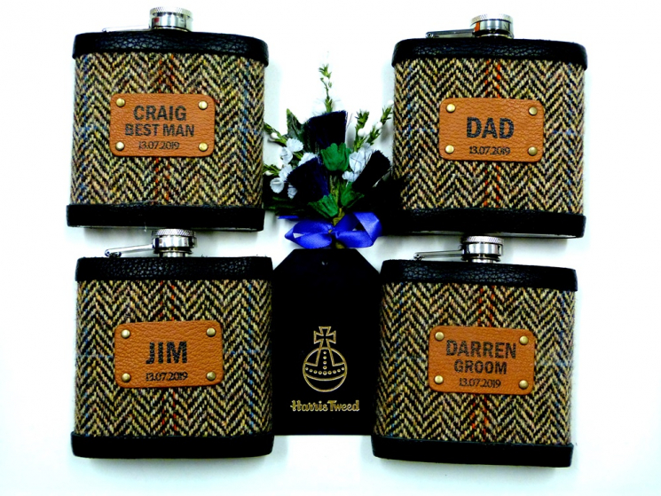 Four Groomsmens flasks for July wedding