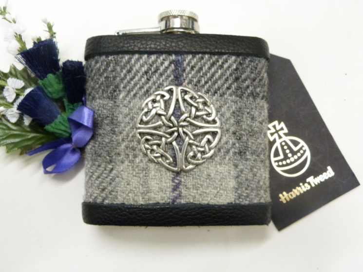 Grey Harris Tweed flask with Celtic shield