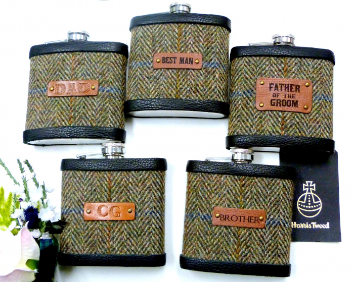 Autumn Harvest Harris  tweed flasks with leather labels