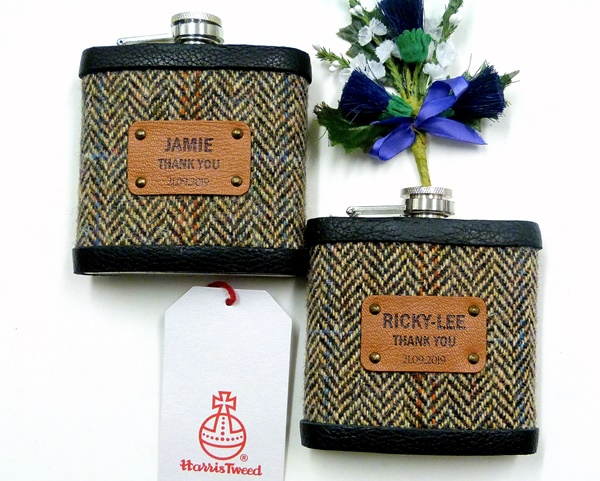 Set of two Harris Tweed flasks with custom leather labels