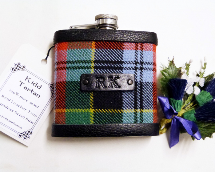 Kidd tartan flask with hand embossed initials